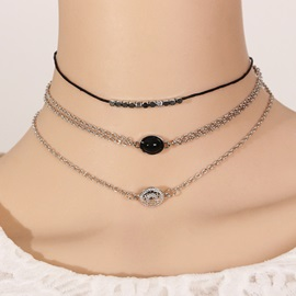 New Style Floral Carving Gem Decorated Choker Necklace
