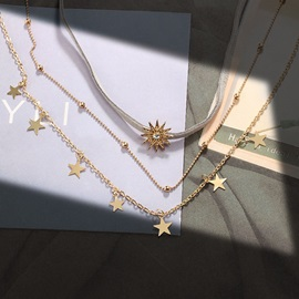 Sun Shape Beads Decorated Gold Layered Necklace