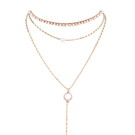 Concise Pearl Inlaid Gold Layered Necklace