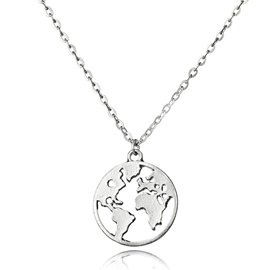 World Map Shape Round Metal Link Chain Necklace