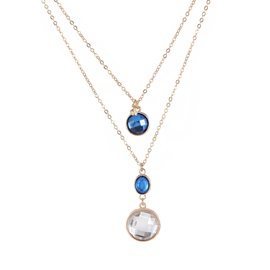 Elegant Gemstone Decorated Double-Layer Pendant Necklace