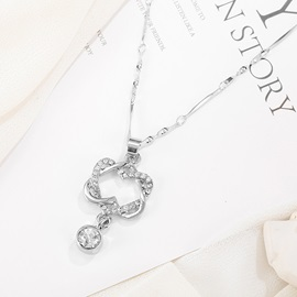 Double Heart Interlaced Design Metal Lovers Necklace