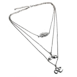 Beauty Fish Pendant V Type Silver Layered Necklace