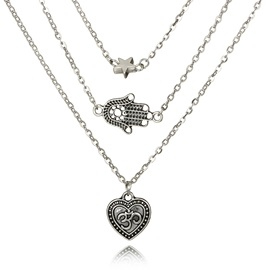 Vintage Heart & Hand Shape Silver Layered Necklace