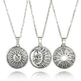 Sun & Moon Shape Coin Metal Silver Layered Necklace