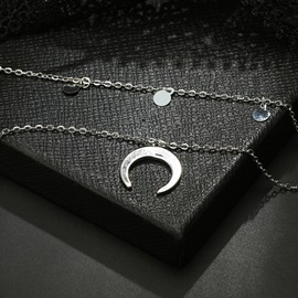 Sequins Pendant Bohemian Style Silver Layered Necklace