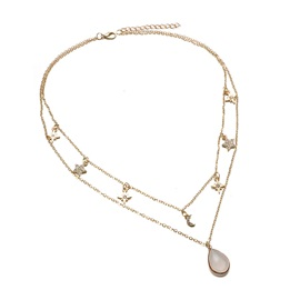 Water Drop Shape Gem Decorated Gold Layered Necklace