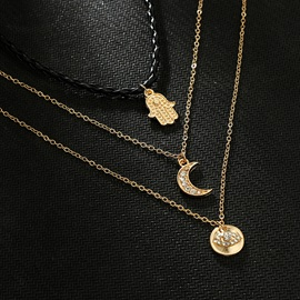 Moon&Palm Pendant PU Rope Gold Layered Necklace
