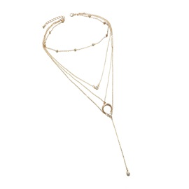 Concise Horn Shape with Rhinestone Gold Layered Necklace