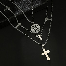 Chic Clover&Cross Shape Metal Silver Layered Necklace