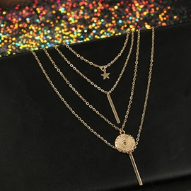 Geometric Shape V Type Link Chain Gold Layered Necklace