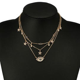 New In Evil Eye Design Rhinestone Gold Layered Necklace
