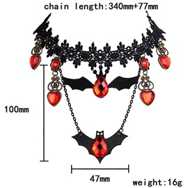 Bat Shape Ruby Decorated Halloween Lace Choker Necklace