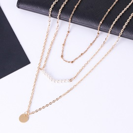 Golden Layered Pearl Link Chain Necklace