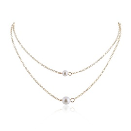 Elegant Pearl Decorated Double Layered Alloy Necklace