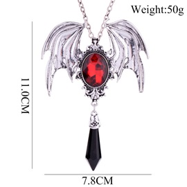 Bat Wing Shape Gemstone Link Chain Halloween Necklace