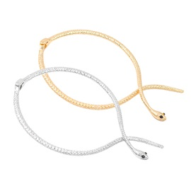 Exaggerated Serpentine Shape Golden Choker Necklace