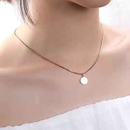 Good Luck Rose Gold Titanium Steel Coin Necklace