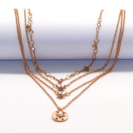 Gold Multi Layered Pearl Decorated Coin Necklace