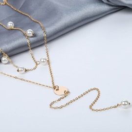 Pearl Embellished Pendant Layered Necklace