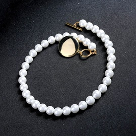 Pearl Beading Decorated Golden Coin Necklace
