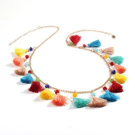 Colorful Tassel Link Chain Bohemia Necklace
