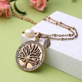 Life Tree Pattern Vintage Golden Coin Necklace
