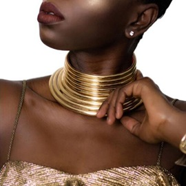 Golden Exaggerated Metal African Necklace
