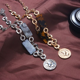 Leopard Pattern Gold Coin Alloy Necklace