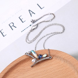 Gemstone Inlaid Link Chain Pendant Necklace