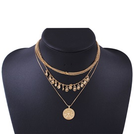 Sexy Summer Gold Layered E-Plating Pendant Necklace