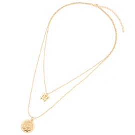 Rose Pattern Golden Double Layered Pendant Necklace