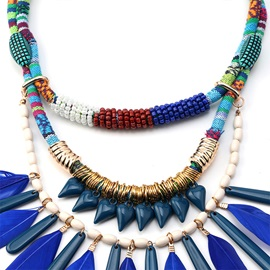 Blue Feather Ethnic Female Necklaces