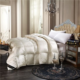 Solid White Royal Style Down Feather Thick Winter Quilts/Comforters