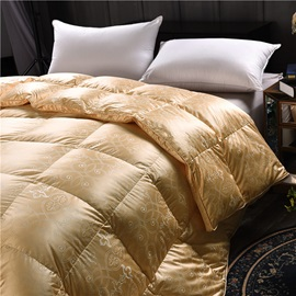 Solid Golden Royal Style Down Feather Super Soft Thick Winter Quilts/Comforters