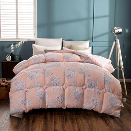 White Flower Blooming Pattern Pastoral Style Pink Feather Fabric Winter Quilt