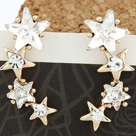 Elegant Zircon Five-pointed Star Alloy Women's Earrings