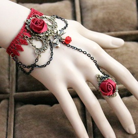 Vintage Bohemia Red Rose Lace Bracelet with Ring
