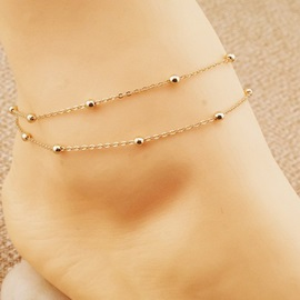 Golden Geometric Shaped Alloy Anklet