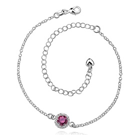 Round Pendant with Crystal Women's Anklet