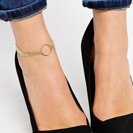 Circle Decorated Multi-layer Alloy Anklet