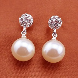 Cute Starry Rhinestone with Pearl Drop Earrings