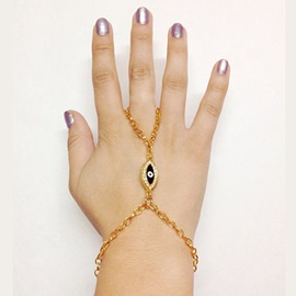 Evil Eye Rhinestone Golden Alloy Rings Bracelets