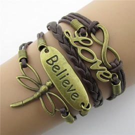 Vintage Dragonfly & Infinity Leather Bracelet
