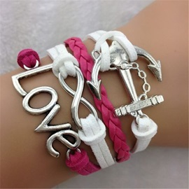 Bold Color Anchor & Love Decorated Infinity Bracelet