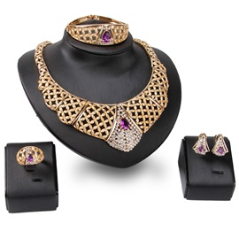 European Style Golden Four Pieces Jewelry Set