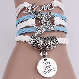 European Love and Butterfly Decoration Alloy Bracelet