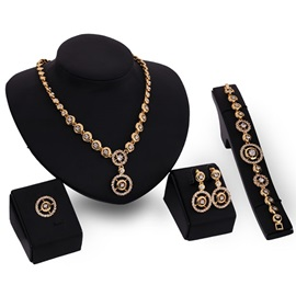 High Quality Alloy Diamante Women Jewelry Set(4 pieces)