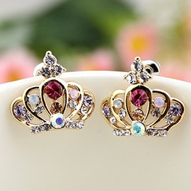Coloured Rhinestones Inlaid Crown Stud Earrings