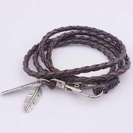 Multilayer Strap Artificial Leather Alloy Leaf Bracelet
